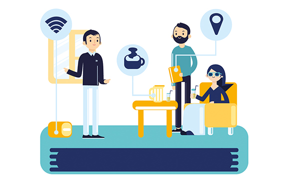 Connexion world website animated illustration